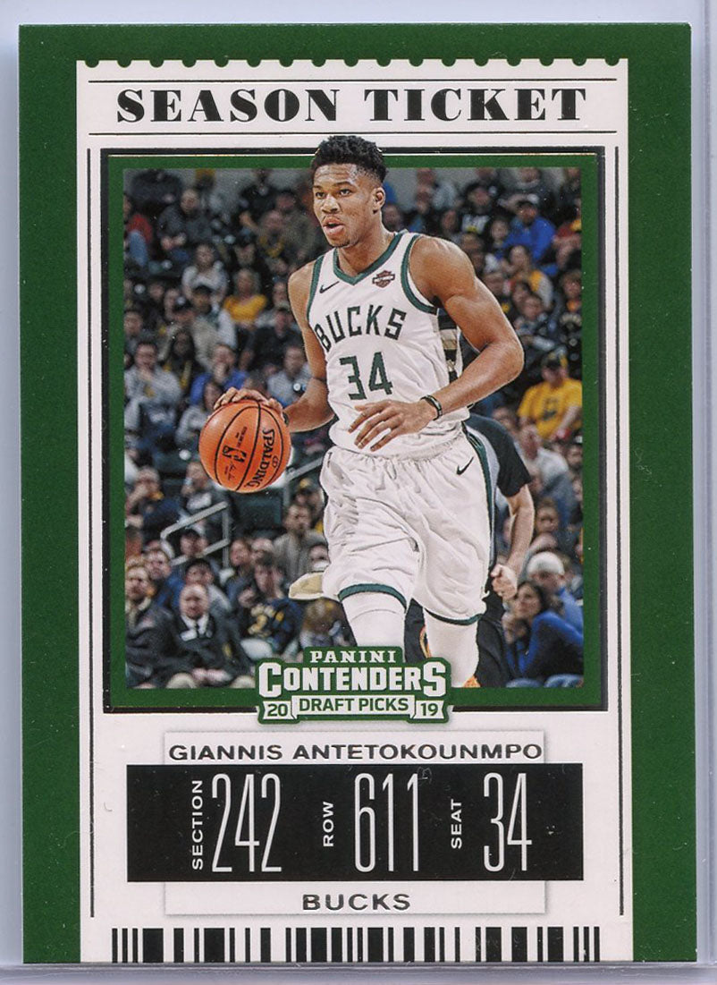 Giannis Antetokounmpo Season Ticket Card No. 17 2019 Panini Contenders Draft Picks