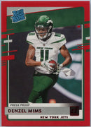Denzil Mims RATED ROOKIE 2020 Donruss Football Press Proof Red Parallel #323 New York Jets