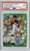 2019 Bowman Chrome 33/99 Corbin Burnes Leg Up GREEN REFRACTOR Card #32 PSA 9 Milwaukee Brewers