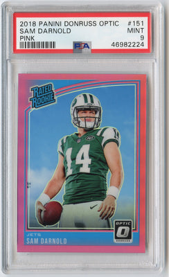 2018 Panini Donruss Optic Football Sam Darnold RATED ROOKIE card Pink Prizm number 151 PSA 10