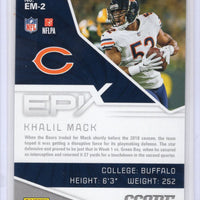 2019 Score Football Epix EM-2 Khalil Mack Bears