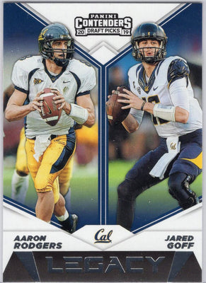 Aaron Rodgers and Jared Goff LEGACY 2019 Panini Contenders Draft Picks #7 card