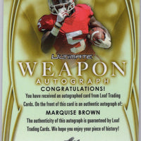 2019 Leaf Ultimate Weapon Autograph WA-MB1 Marquise Brown Auto RC 3/10 Oklahoma - Baltimore Ravens