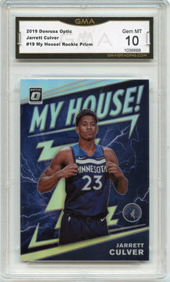 2019-20 Donruss Optic Jarrett Culver HOLO PRIZM MY HOUSE RC #19 GMA 10