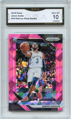 2018-19 Prizm Basketball Jevon Carter Pink Ice Prizm Rookie Card #76 Memphis Grizz GMA 10
