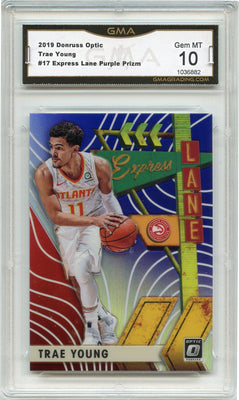 2019-20 Donruss Optic Trae Young Express Lane PURPLE PRIZM #17 Atlanta Hawks GMA 10