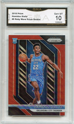 2018-19 Prizm Basketball Hamidou Diallo Ruby Wave Prizm Rookie Card #9 OKC Thunder GMA 10