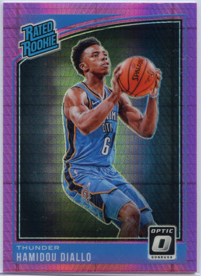 Hamidou Diallo RATED ROOKIE Card #171 Hyper Pink Prizm 2018-19 Panini Donruss Optic Basketball OKC