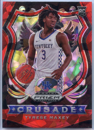 2020-21 Prizm Draft Picks Tyrese Maxey RED CRACKED ICE CRUSADE RC #94