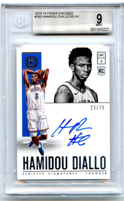 23/75 Hamidou Diallo Autograph Rookie Card #160 2018-19 Encased BGS 9