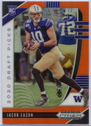 2020 Prizm Draft Picks Jacob Eason Rookie Card Orange Prizm #115