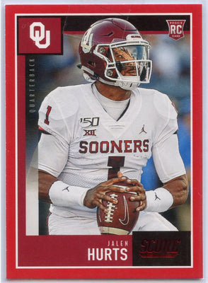 2020 Score Football Jalen Hurts Red Parallel Rookie Card #358