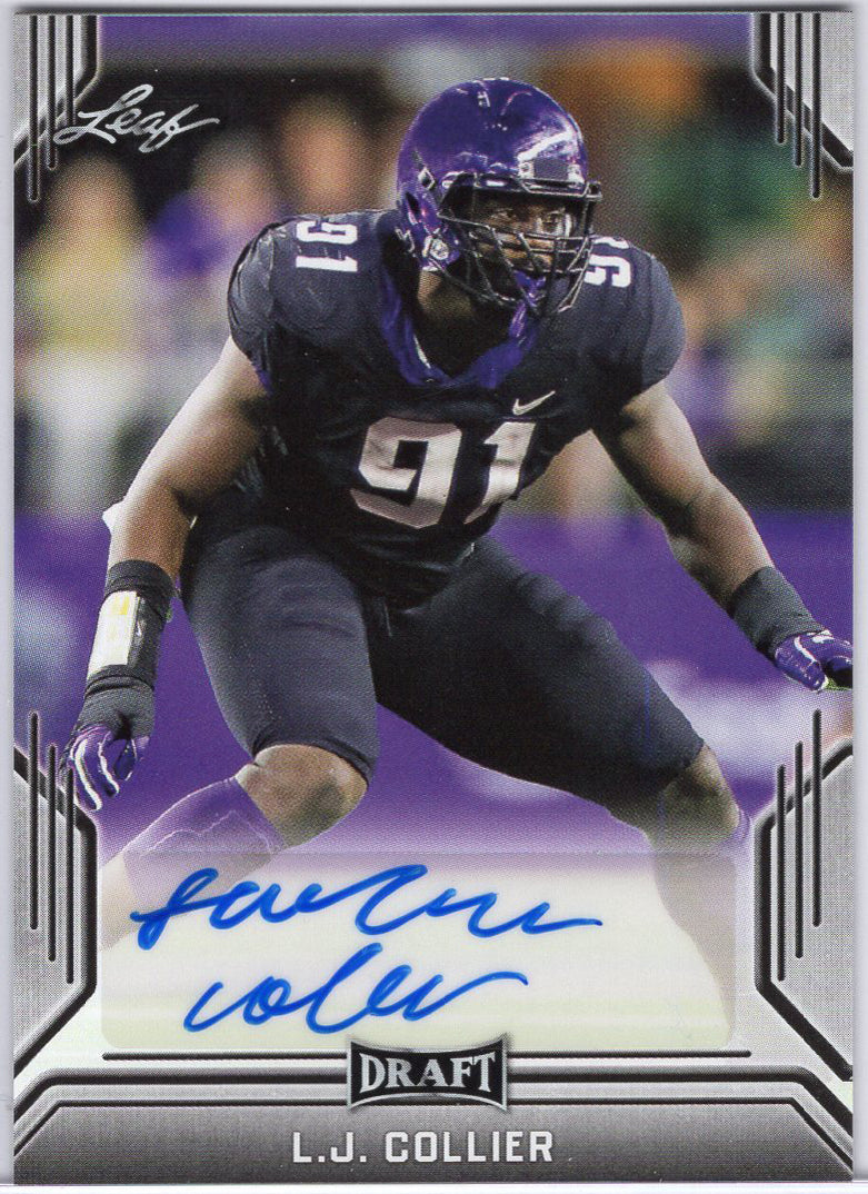 2019 Leaf Draft L.J. Collier Auto Rookie Card