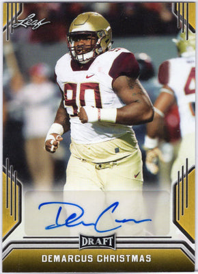 Demarcus Christmas Auto Rookie Card Leaf Draft Gold Parallel 2019