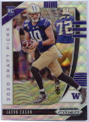 76/299 Jacob Eason BLUE WAVE Rookie Card #115 Prizm Draft Picks