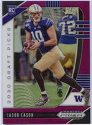 2020 Prizm Draft Picks Jacob Eason PURPLE PRIZM Rookie Card #115