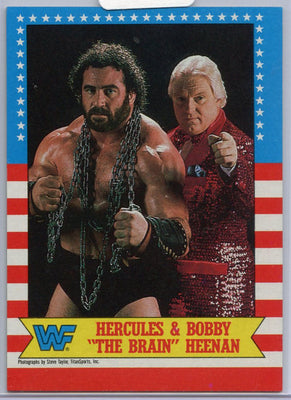 1987 Topps WWF Hercules & Bobby The Brain Heenan card number 9