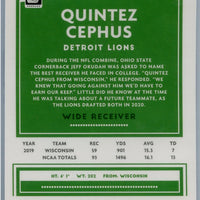 2020 Panini Donruss Optic Football Quintez Cephus rookie card number 130 Lions wide receiver