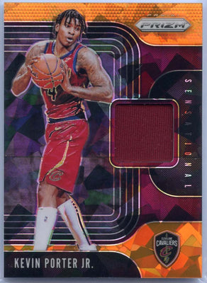 019-20 Prizm Basketball Orange Cracked Ice Sensational Kevin Porter Jr Rookie Card Jersey Patch SS-KPJ Cavs