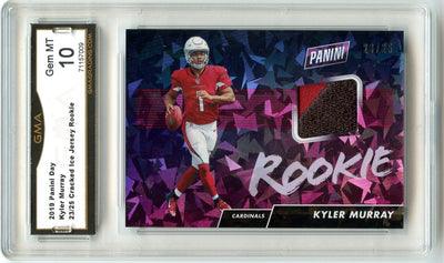 23/25 2019 Panini Day Football Kyler Murray Cracked Ice Jersey Rookie Card #KM graded gem mint 10 by GMA