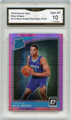 2018-19 Donruss Optic Miles Bridges RATED ROOKIE PINK HYPER PRIZM #172 graded gem mint 10