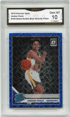 2019-20 Donruss Optic Jordan Poole RATED ROOKIE Blue Velocity Prizm Card #169 graded gem mint 10