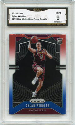 2019-20 Prizm Basketball Dylan Windler Red White Blue Prizm Rookie Card #270 graded Mint 9