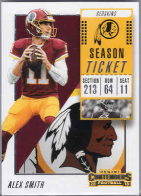 Alex Smith 2018 Panini Contenders #1 Redskins card