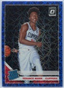 2019-20 Donruss Optic Basketball Blue Velocity Terance Mann RATED ROOKIE #165 Clippers