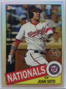 2020 Topps Chrome Juan Soto Retro 1985 85TC-3 Washington Nats outfielder