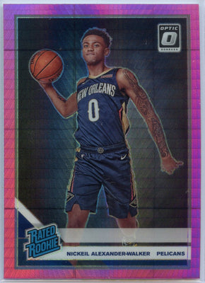 2019-20 Donruss Optic Basketball Hyper Pink Prizm Nickeil Alexander-Walker RATED ROOKIE number 184 card Pelicans