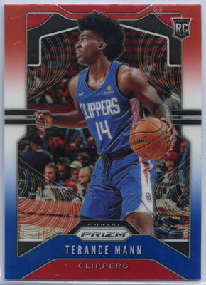 2019-20 Prizm Basketball Terance Mann Red White Blue Prizm Rookie Card #296 Los Angeles Clippers