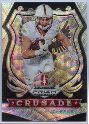 143/299 Christian McCaffrey White Sparkle Prizm Card #25 2020 Prizm Draft Picks CRUSADE