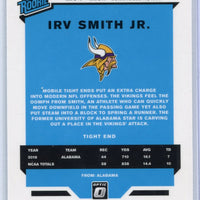 2019 Panini Donruss Optic Football number 174 Irv Smith Jr. RATED ROOKIE card Minnesota Vikings TE
