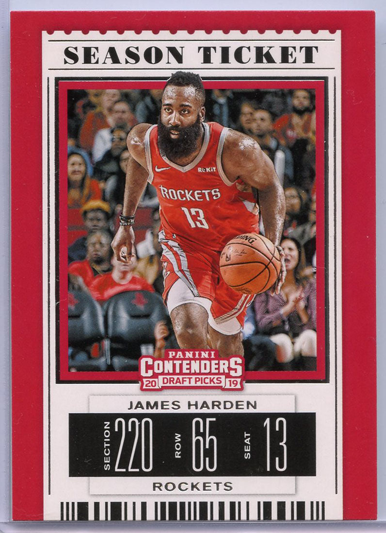 James Harden Season Ticket Card No. 18 2019 Contenders Draft Picks Houston Rockets