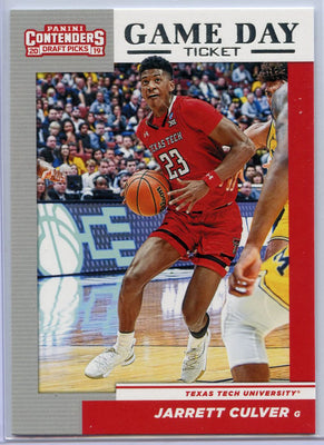 Jarrett Culver Game Day Ticket rookie card No. 6 2019 Contenders Draft Picks