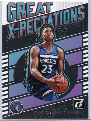 Jarrett Culver Great X-Pectations Rookie Card #11 Donruss Basketball 2019-20 Minnesota T-Wolves