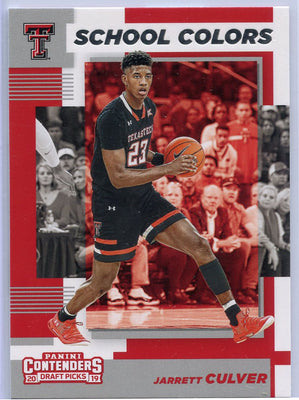Jarrett Culver Rookie Card 2019 Panini Contenders Draft Pcks School Colors No. 6 Texas Tech