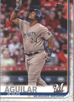 Jesus Aguilar 2019 Topps Series 1 Baseball card #287 Milwaukee Brewers
