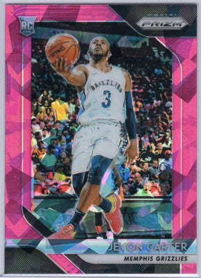 Jevon Carter Rookie Card 2018-19 Pink Cracked Ice Prizm No. 76