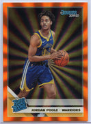 2019-20 Donruss Basketball Jordan Poole Orange Holo Laser Rated Rookie Card #226 Warriors