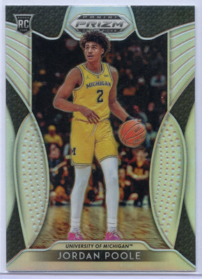 Jordan Poole SILVER rookie card number 28 Michigan 2019 Prizm Draft Picks Basketball