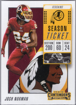 Josh Norman 2018 Panini Contenders #2 Football Card