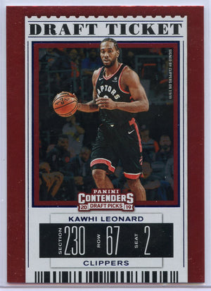 Kawhi Leonard Draft Ticket 2019 Panini Contenders Draft Picks No. 26