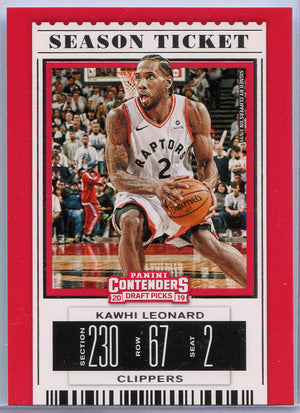 Kawhi Leonard Season Ticket basketball card No. 26 Contenders Draft Picks 2019