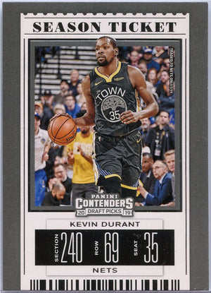 Kevin Durant Season Ticket Card 2019 Contenders Draft Picks No. 28