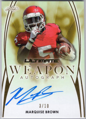 Marquise Brown auto rookie card 3/10 2019 Leaf Ultimate Weapon WA-MB1