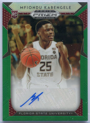Mfiondu Kabengele autograph rookie card green 2019 Prizm Draft Picks number 27