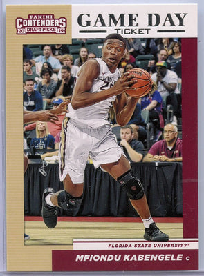 Mfiondu Kabengele Game Day Ticket rookie card 2019 Contenders Draft Picks #5