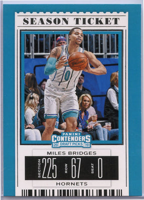 Miles Bridges 2019 Contenders Draft Picks Season Ticket card #43 Hornets